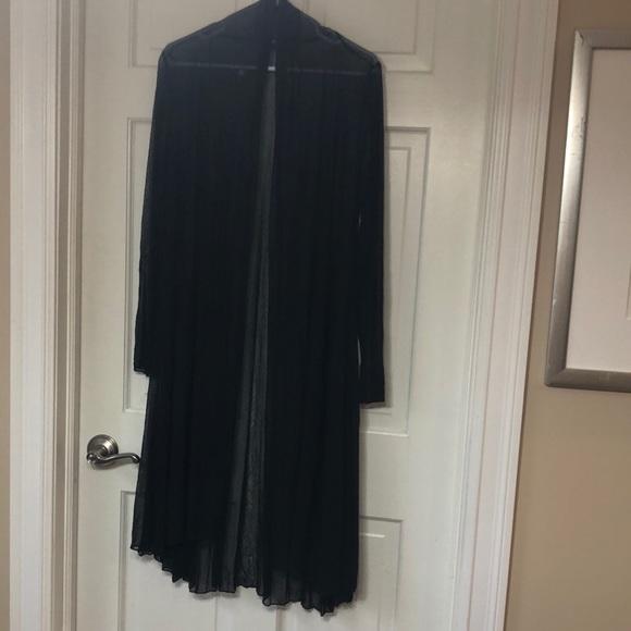 Long sheer open front cardigan tunic - black